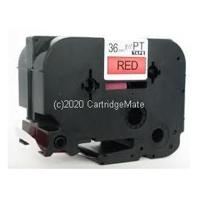 """Cinta de identificación flexible de 24 mm (0,94 """") negro sobre rojo, 8 m (26,2 pies) TZEFX451"""