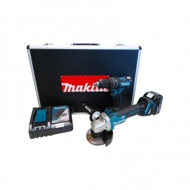 Kit Esmeril Angular DGA454 + Taladro Atonillador DHP480 Inalámbrico Makita DLX2163X