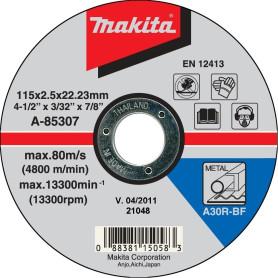 "DISCO CORTE METAL 4.1/2""(115 X 2.5 X 22 mm.) RECTO - A30R"