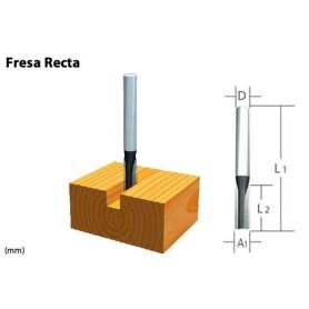 """Fresa recta 2 filos 1/2"""" X 1"""" EJE 1/4"""""""